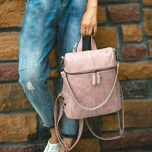 SALE $40-Pink Vegan Leather Backpack